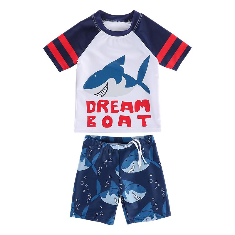 男童分体防晒泳衣套装