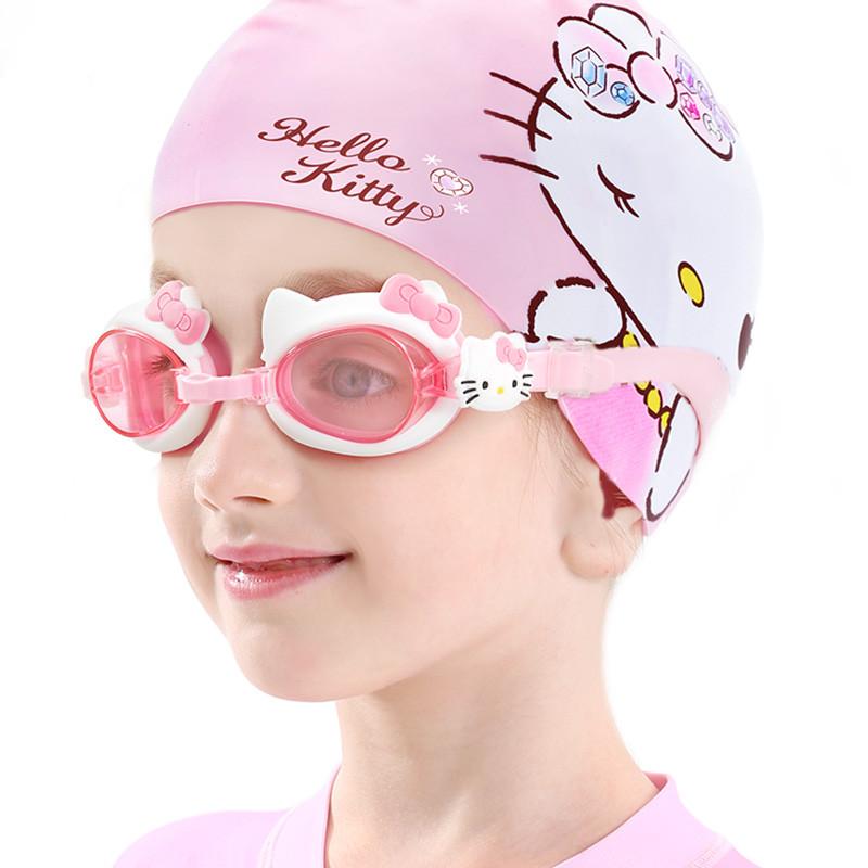 hellokitty儿童防水防雾高清专业游泳镜套装