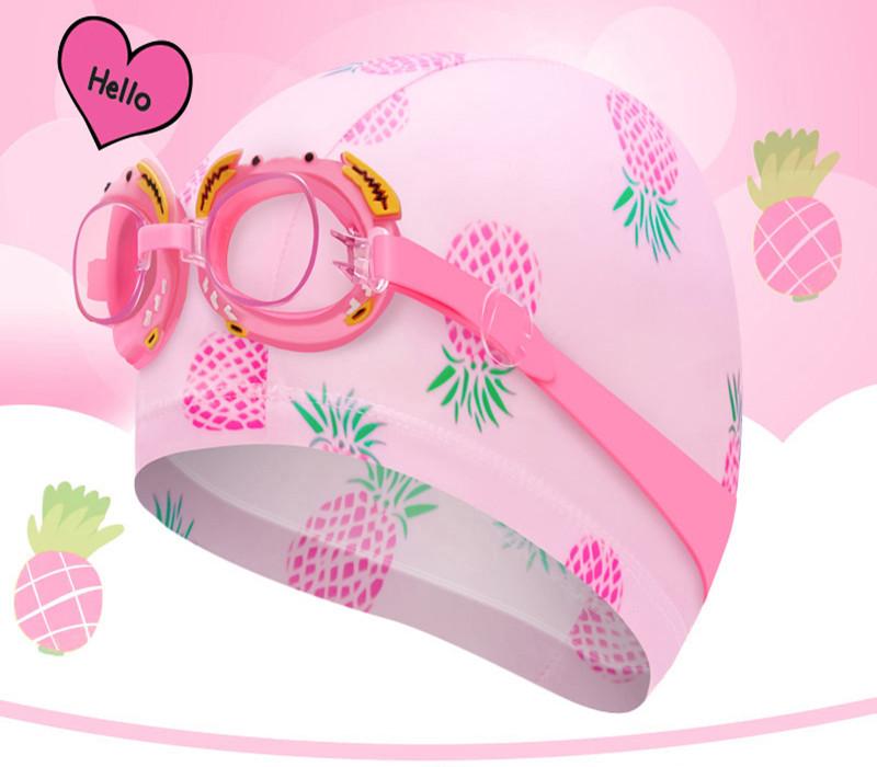 儿童泳镜泳帽男女童高清潜水防水防雾小孩泳镜泳帽三件游泳套装