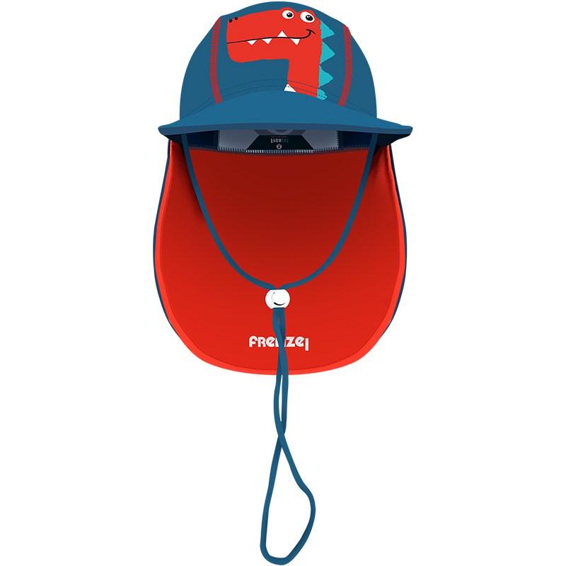 儿童防紫外线沙滩遮阳帽卡通男女宝宝护耳护颈海边防晒帽子游泳帽