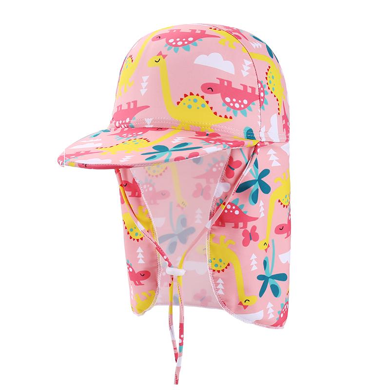 儿童泳帽男童防晒护颈护耳女童大帽檐夏防紫外线帽沙滩遮阳游泳帽