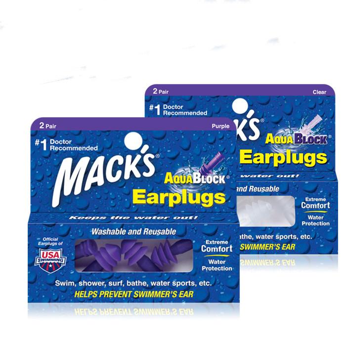 美国MACK专业防水耳塞成人游泳带线带绳硅胶耳塞游泳装备洗头洗澡