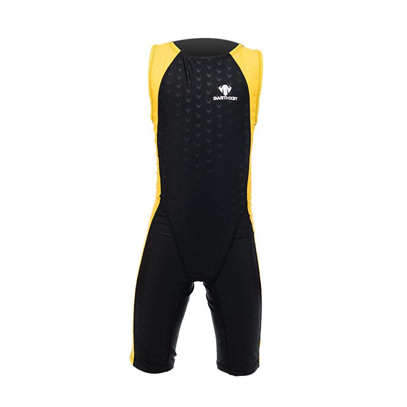 儿童连体泳衣女童男童泳衣鲨鱼皮专业训练速干防寒游泳衣中大童