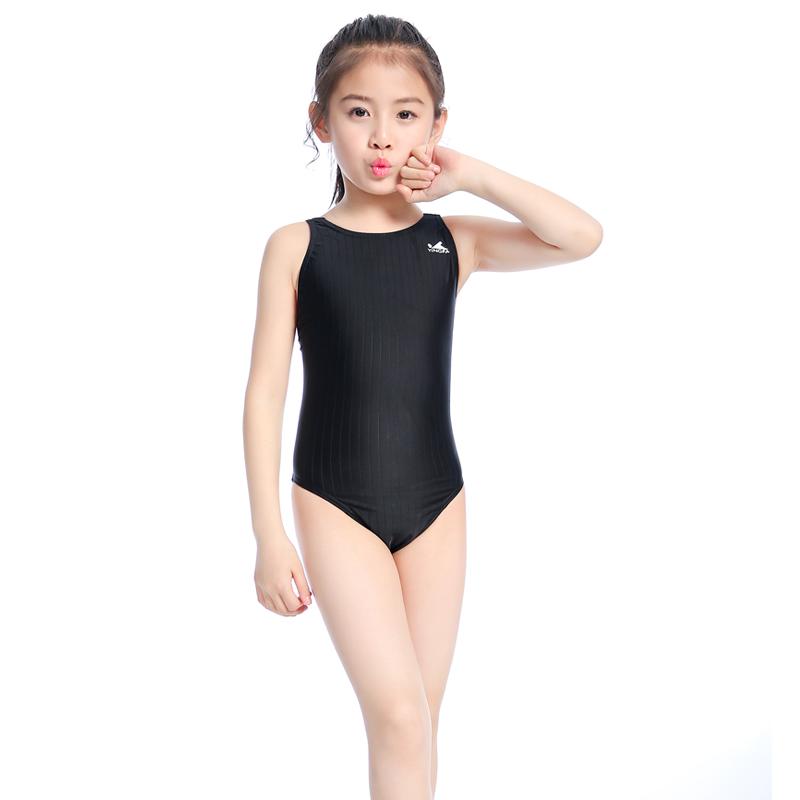 英发专业儿童泳衣女童 仿鲨鱼皮泳衣 速干比赛训练连体三角游泳衣