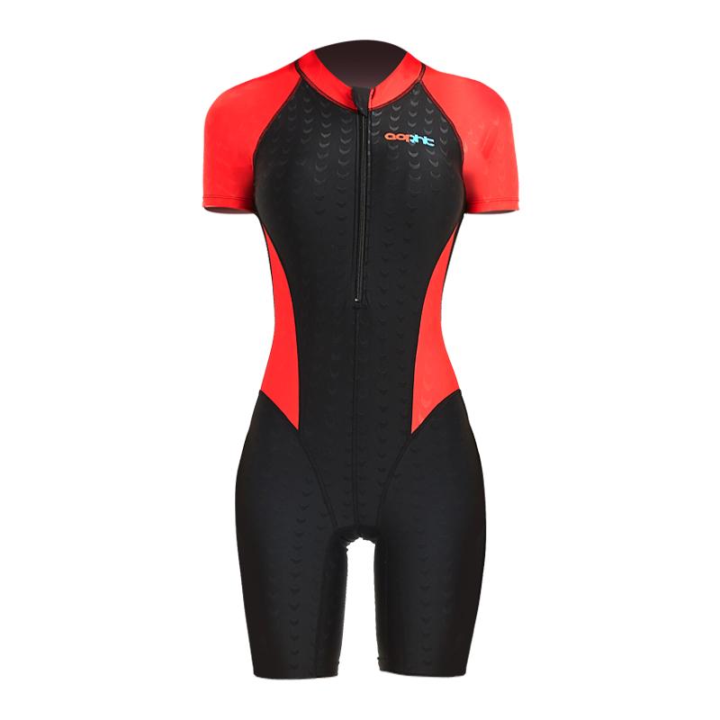 专业鲨鱼皮连体泳衣女短袖带胸垫速干保守显瘦学生训练比赛游泳衣